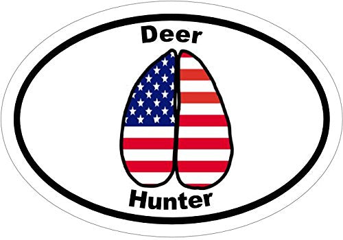 WickedGoodz Oval American Flag Track Deer Decal - Hunting Bumper Sticker - Perfect Hunter Outdoor Gift-WickedGoodz