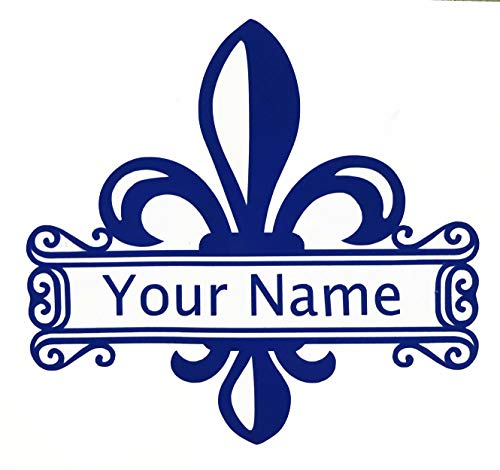 Personalized Fleur-de-lis Name Decal - Custom Coat of Arms Bumper Sticker, for Tumblers, Laptops, Car Windows - Custom Size and Color-WickedGoodz