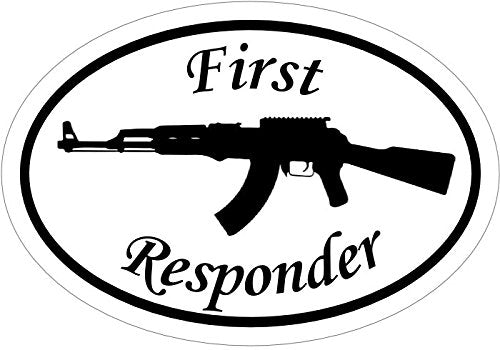 WickedGoodz First Responder AK-47 Vinyl Decal - 2nd Amendment Bumper Sticker - Perfect Gun Rights Gift-WickedGoodz