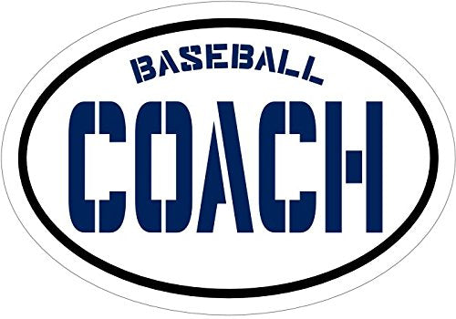 Oval Blue Vinyl Baseball Decal Coach Bumper Sticker-WickedGoodz