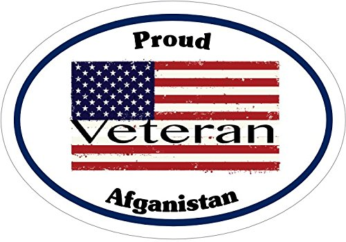 WickedGoodz Oval Vinyl American Flag Proud Afghanistan Veteran Decal - Patriotic Bumper Sticker - Perfect Military Gift-WickedGoodz