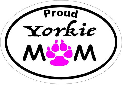 WickedGoodz Oval Proud Yorkie Mom Vinyl Decal - Yorkshire Terrier Bumper Sticker - Perfect Dog Owner Gift,-WickedGoodz