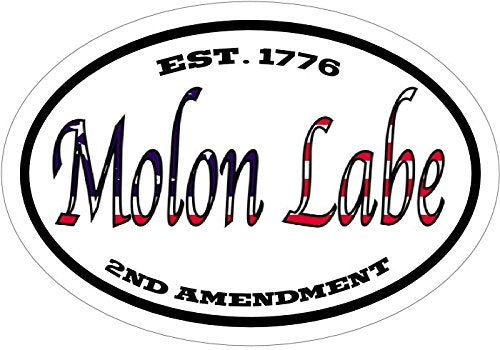WickedGoodz Oval American Flag Molon Labe Vinyl Decal - Patriotic Bumper Sticker - Conservative Gift-WickedGoodz