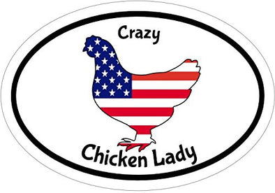WickedGoodz Oval Vinyl American Flag Crazy Chicken Lady Decal - Patriotic Bumper Sticker - Perfect Chicken Gift-WickedGoodz