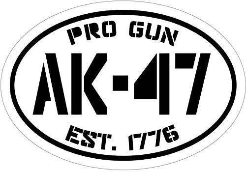 WickedGoodz Black Pro Gun Est.1776 Ak-47 Vinyl Window Decal - Patriotic Bumper Sticker - Perfect 2nd Amendment Gift-WickedGoodz