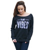 Plant Vibes Wide Neck Sweatshirt - Black (Womens)