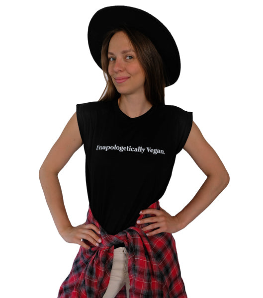 Unapologetically Vegan Rolled Cuff Tee (Womens)