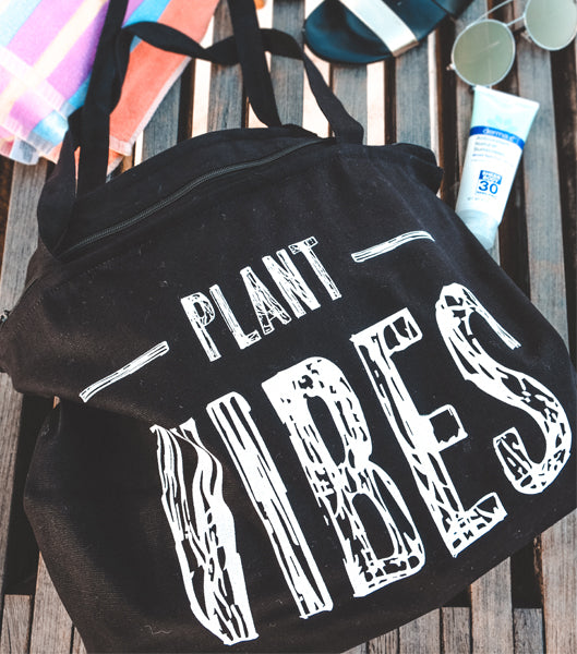 Large Plant Vibes Zippered Tote - Black