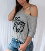 Vegan PWR Slouchy T-Shirt - Grey (Women's)