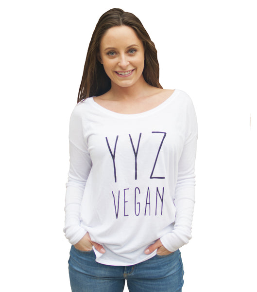YYZ Slouchy Long Sleeve with Ribbed Sleeves - White