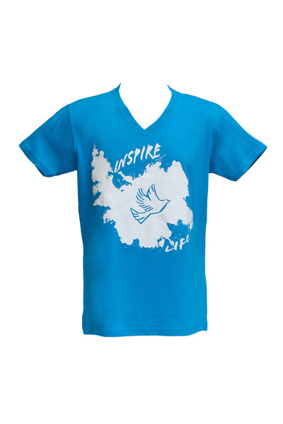 Men's Turquoise V-Neck / White Splash