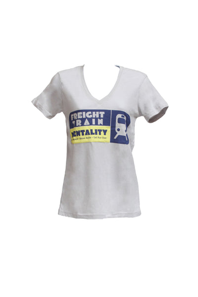 Women's Heather Gray V-neck / Blue Freight Train Mentality. Get Onboard. Move Aside. Get Run Over.