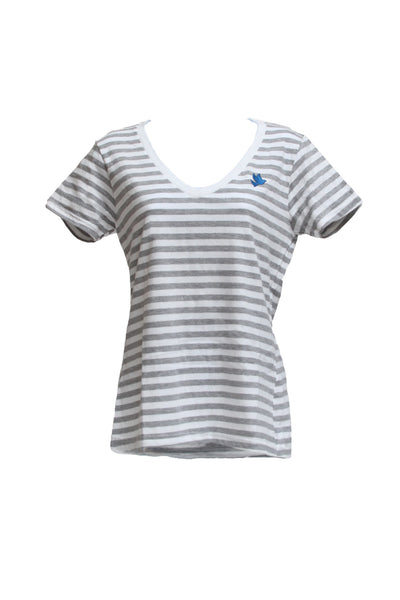 Women's Heather Gray and White Striped V-neck / Blue Embroidered Dove