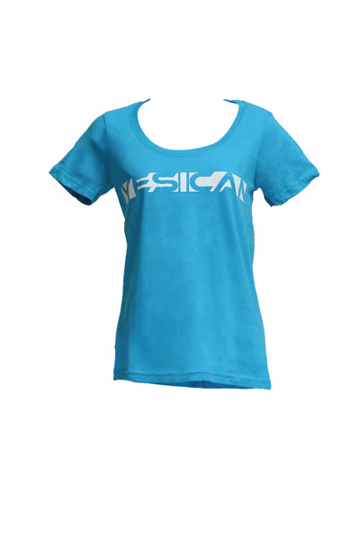 "Women's Turquoise Scoop-Neck / White ""Yes I Can"""