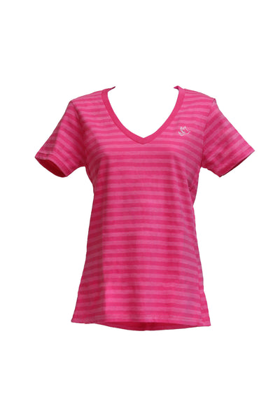 Women's Pink and Fuchsia Striped V-neck / White Embroidered Dove