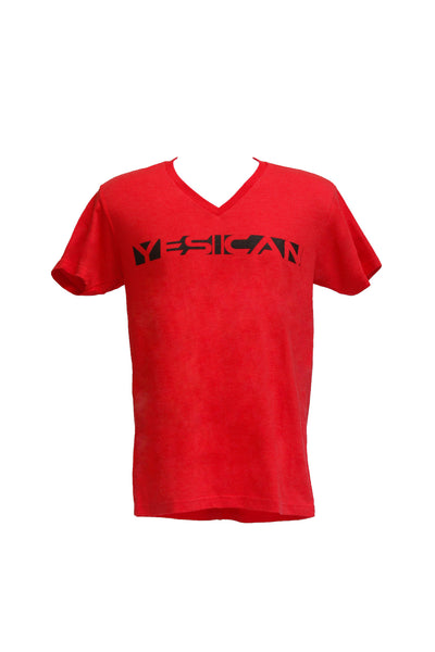 "Men's Red V-Neck / Black ""Yes I Can"""