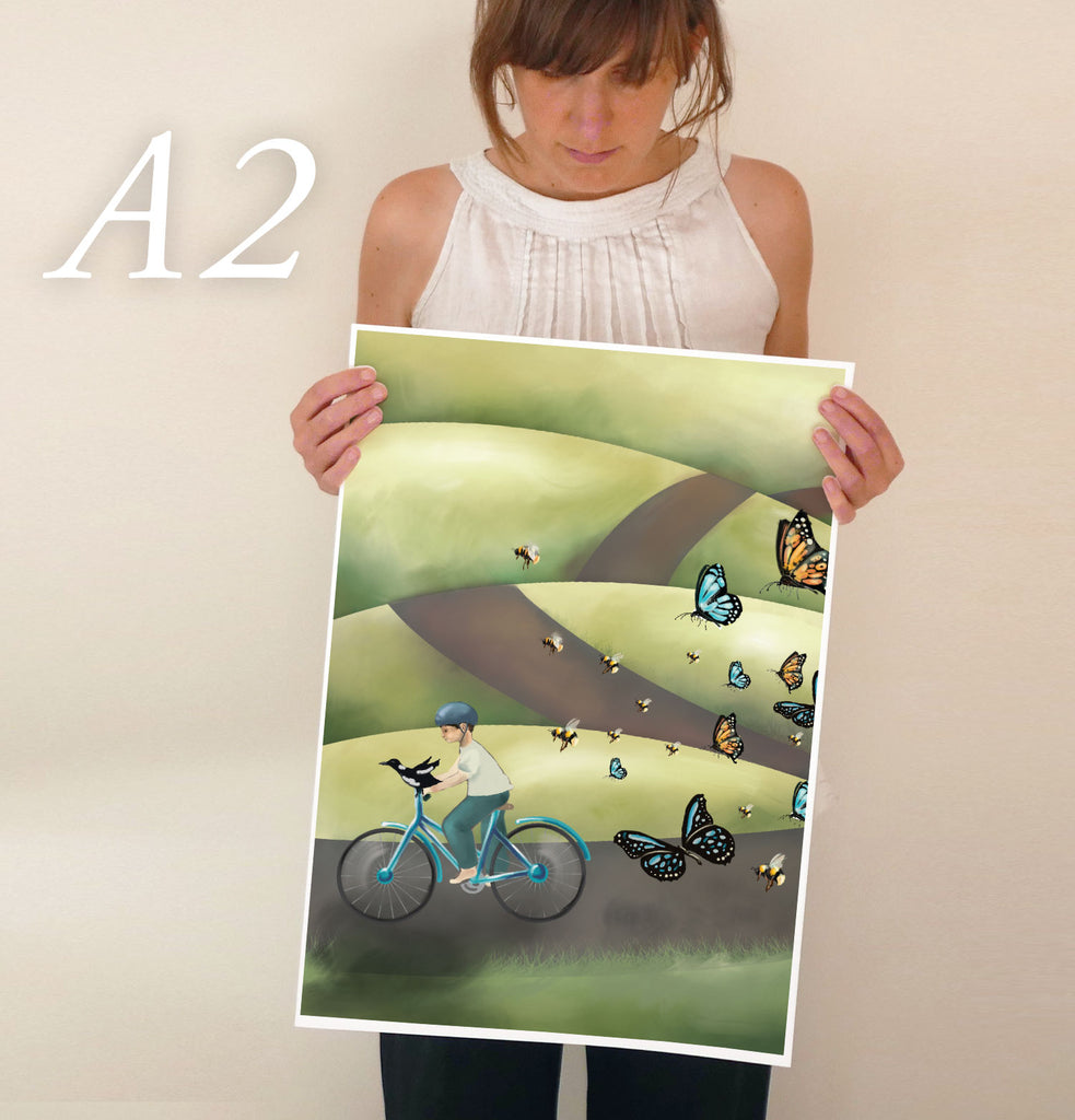 Boy and his Bird on a Bike - Nursery Wall Art Print (Alphabet Print For The Letter B)