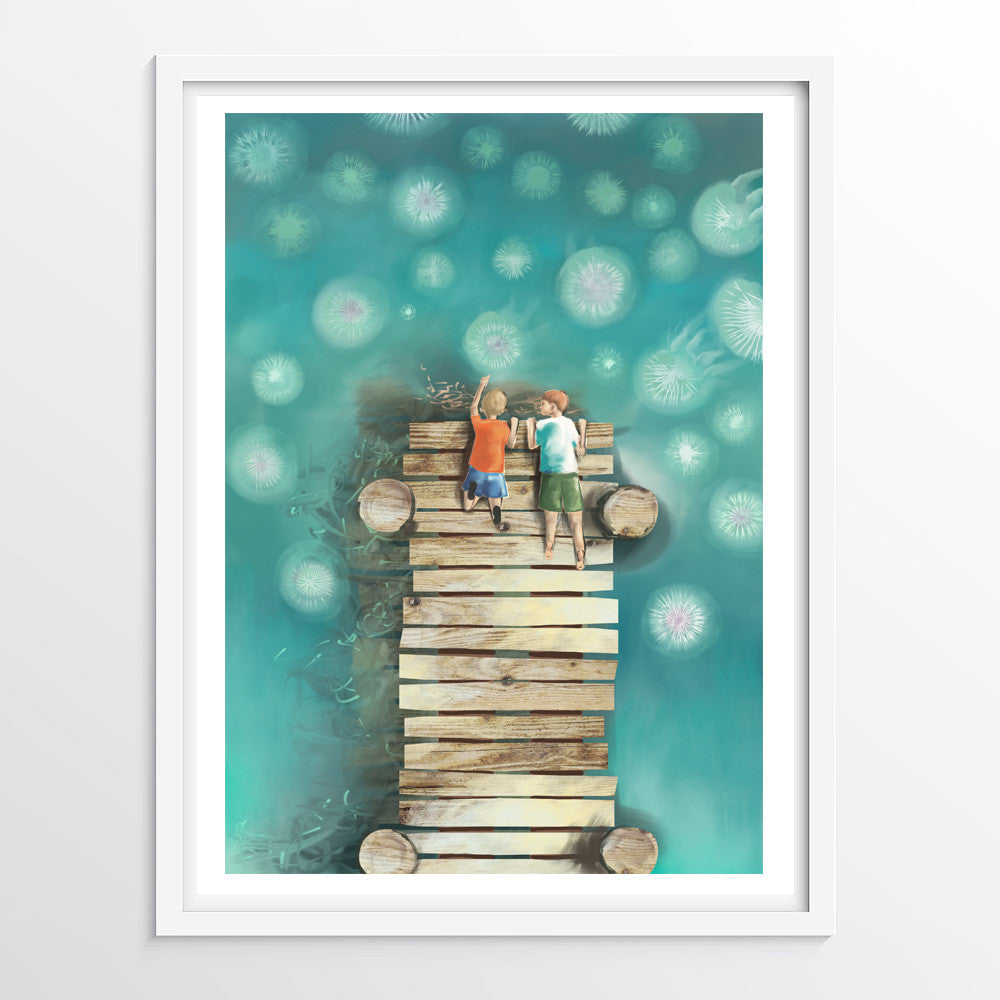 Jellyfish From The Jetty - Nursery Art Print - Alphabet Series (Letter J)