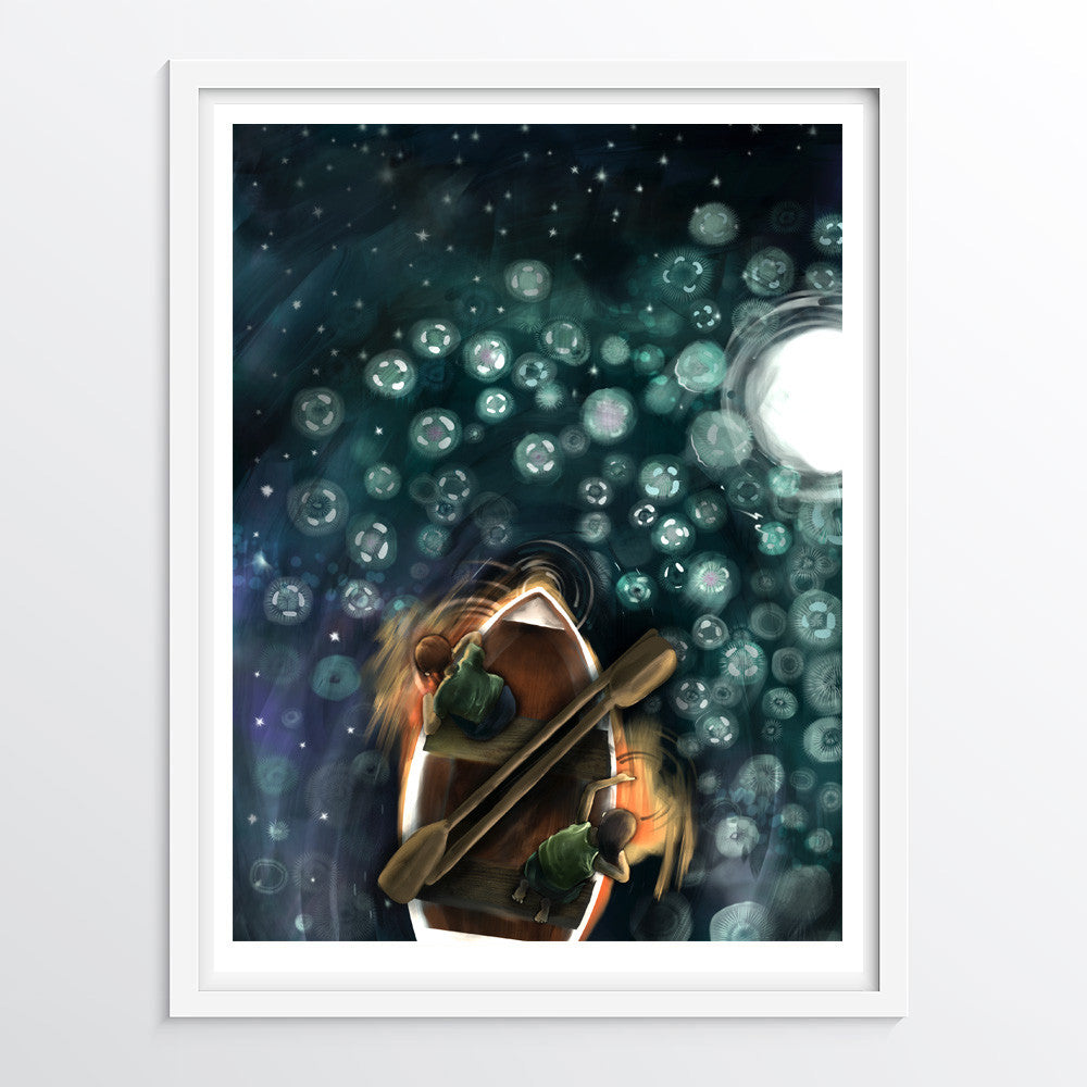 Phosphorescent Jellyfish Art Print