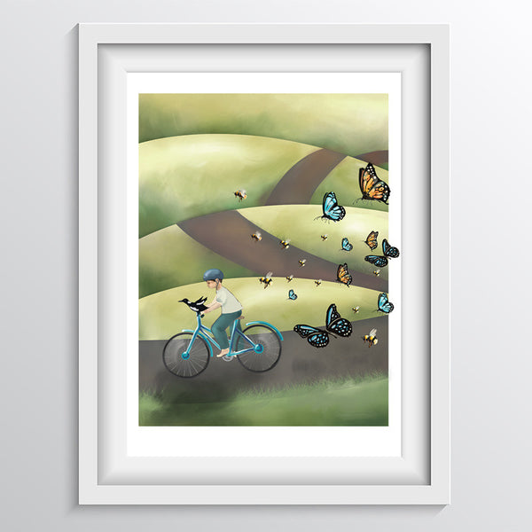 Boy and his Bird on a Bike Nursery Art Print (Letter B)