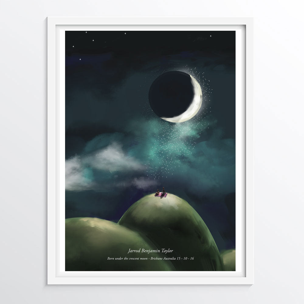 Customised Moon Phase Poster - Moon Phase Customised to any date and location