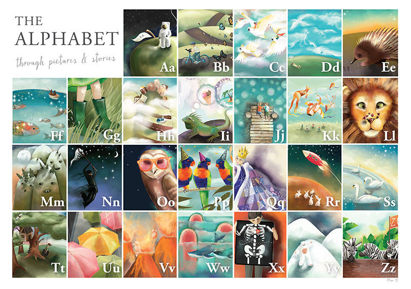 AlmaB Alphabet Poster for Children's Nursery