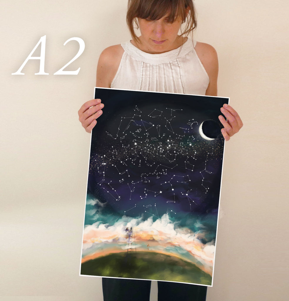 Customised Night Sky Poster - Star Constellations and Night Sky Customised to any date and location