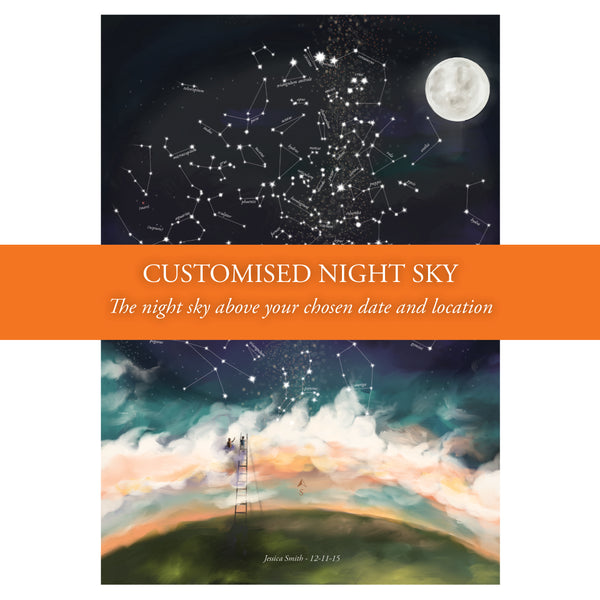 Personalised Baby Gift - Customised Constellations Poster - Customised to any date and location
