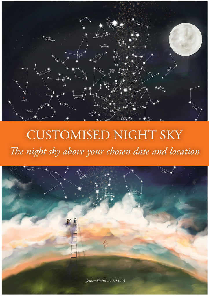 Custom constellations / Night Sky illustration with portrait add-on