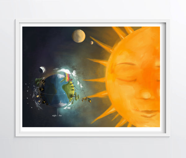 Day and Night on Earth - Educational Illustration Print - Fine Art Poster