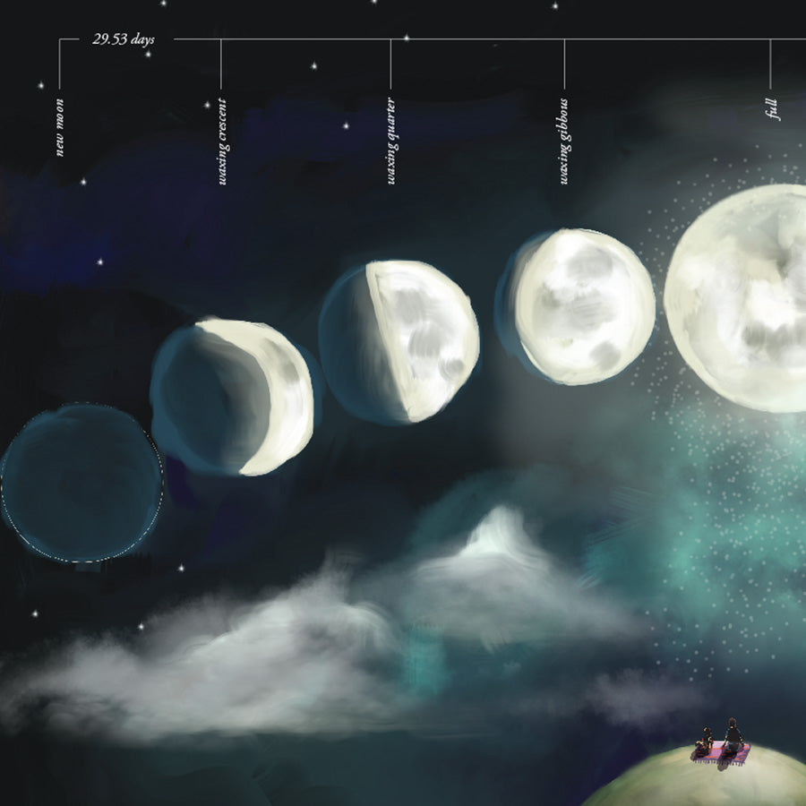 Moon Phases Educational Illustration