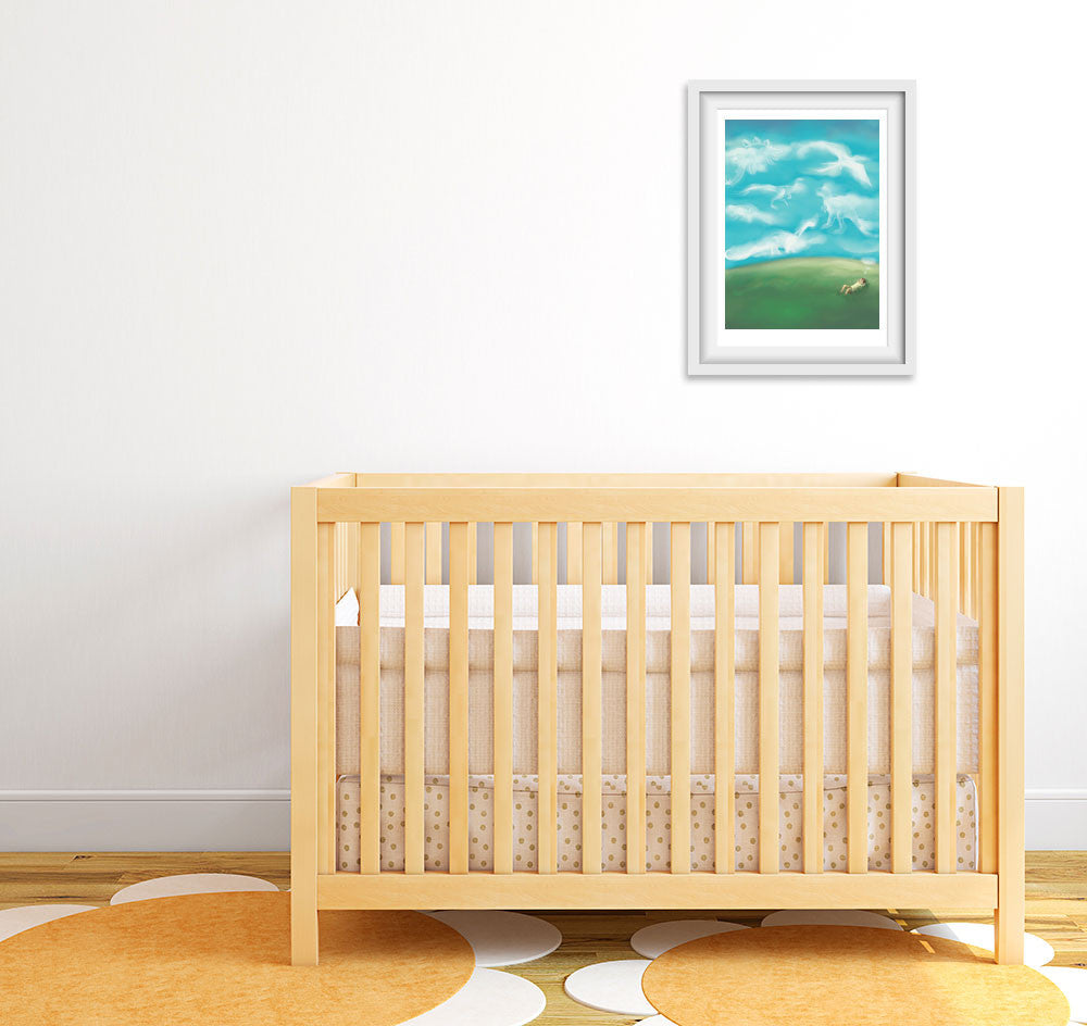 Daydreaming of Dinosaurs - Nursery Art Print (Letter D)