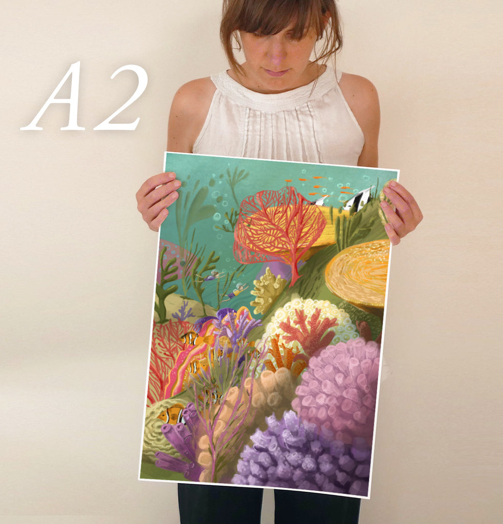 Coral Reef Art Poster - Ocean art for children