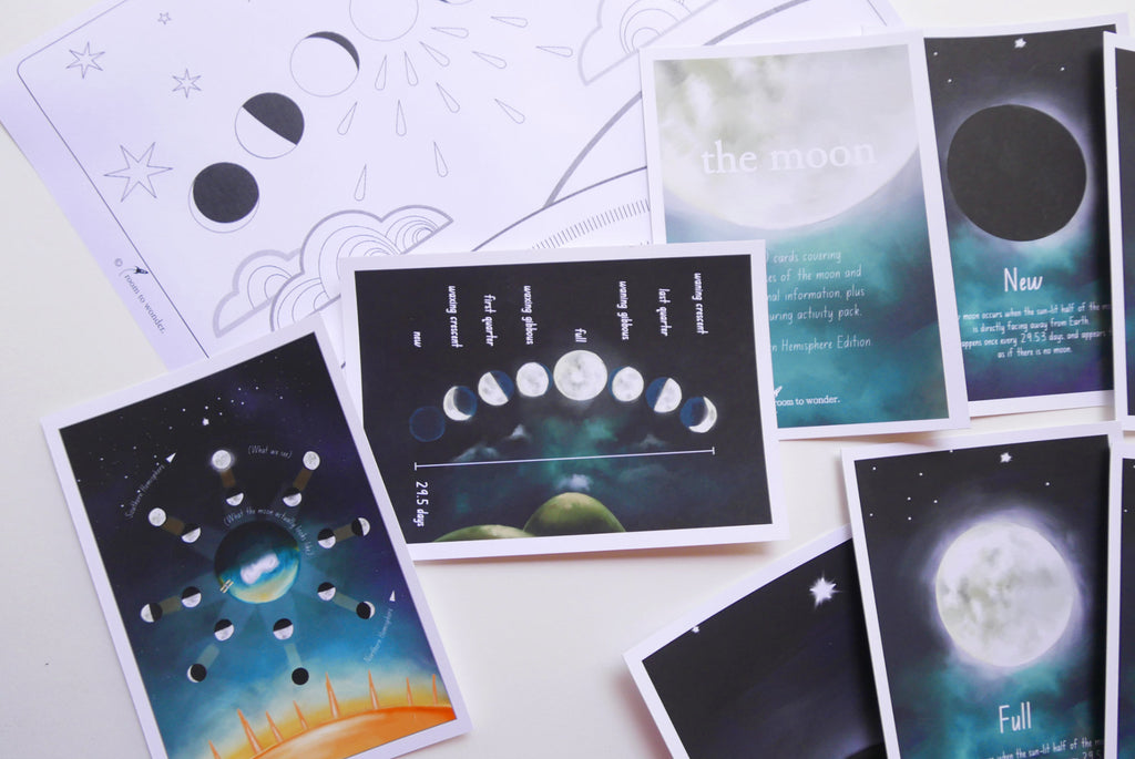 Moon Phase Printable Flashcards and Learning Activity Pack - Southern Hemisphere Edition