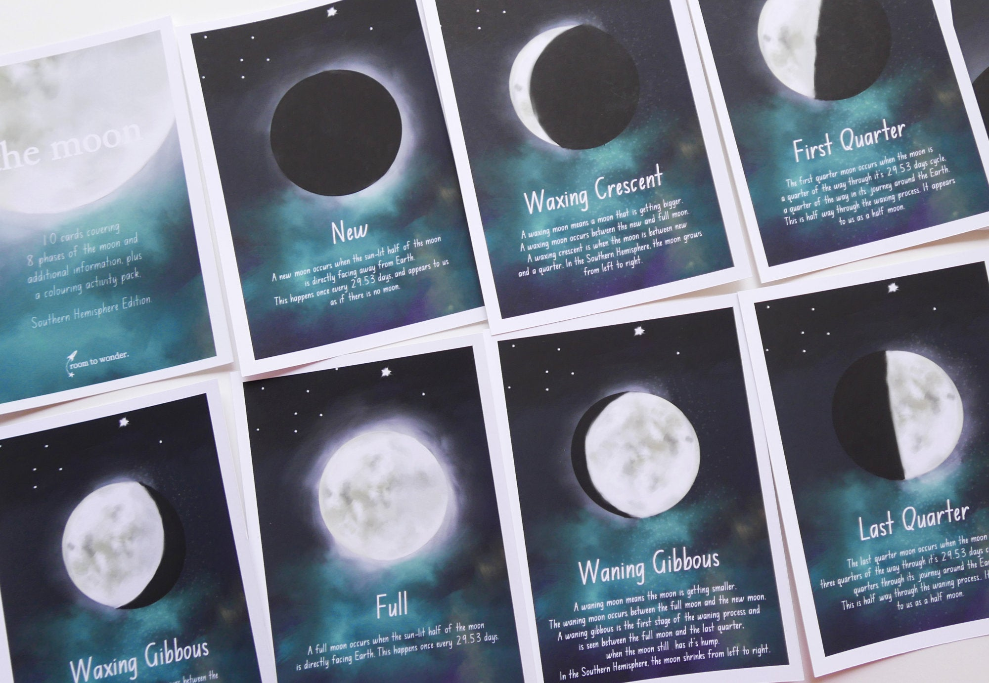 picture about Moon Phases Printable named Moon Step Printable Flashcards and Discovering Video game Pack
