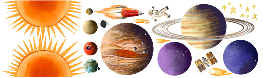 Solar System Wall Sticker - cut-out Planet Stickers - Part of the space series educational wall art