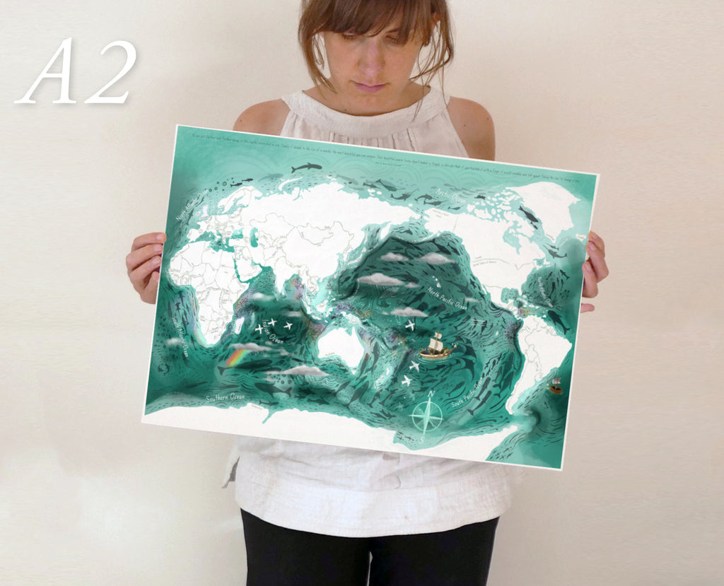 World Map for Kids - Digital Download Copy - illustrated educational, Oceanic World Map - Pacific Centred, high in detail.