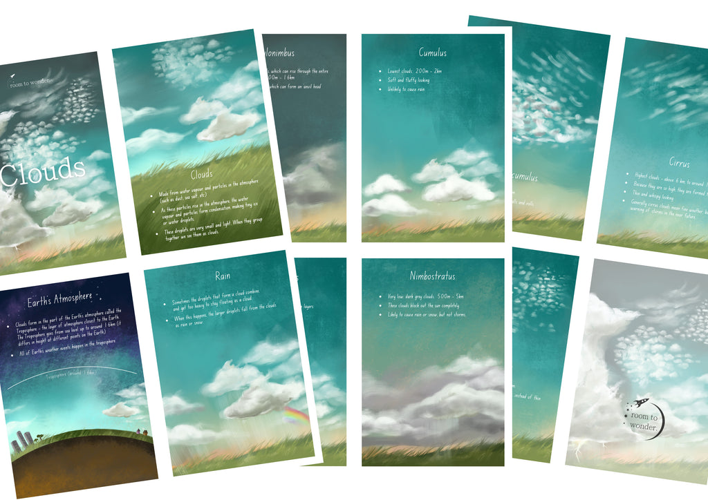 Cloud Types Printable Flashcards and Learning Pack