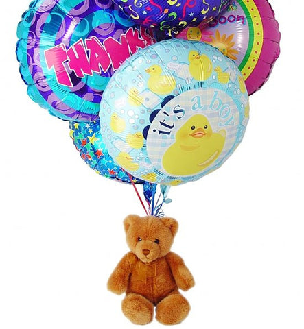 Balloon Bouquet: 6 Mylar & Teddy