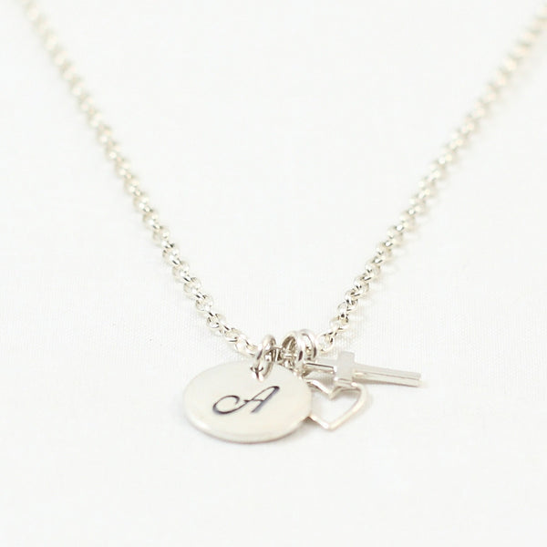 A Heart for God Initial Charm Necklace with Cross