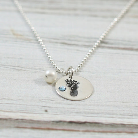 Baby Boy Footprint Sterling Necklace with Blue Stone