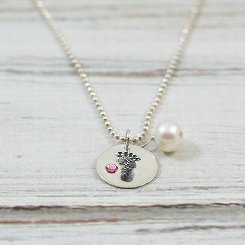 Baby Girl Footprint Sterling Necklace with Pink Stone