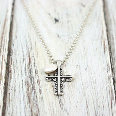 Filigree Cross with Freshwater Pearl Necklace - Parable of the Pearl