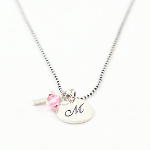 Full of Faith Initial Charm Necklace with Cross and Birthstone