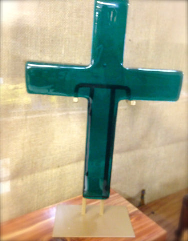 Hope Glass Large Spring Green Cross