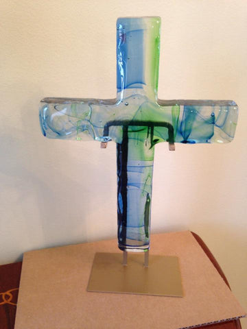 Ocean Swirl Large Glass Cross