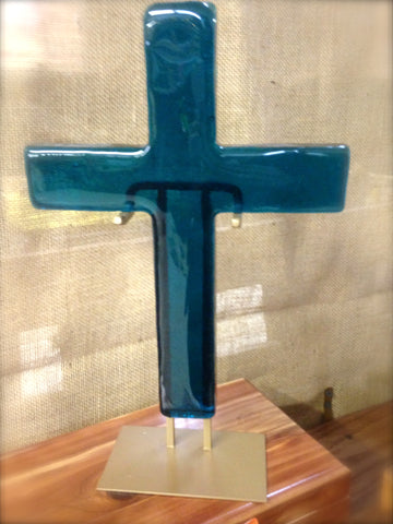 Peacock Blue Large Glass Cross