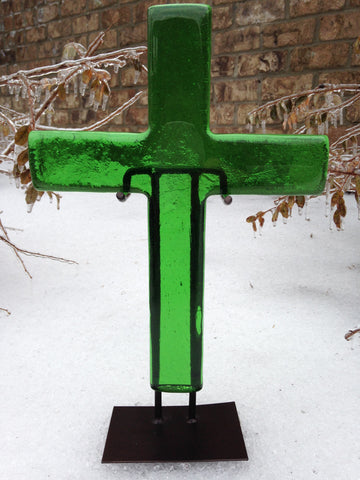 Radiant Emerald Green Large Cross & Stand