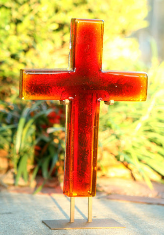 Ruby Red Large Glass Cross