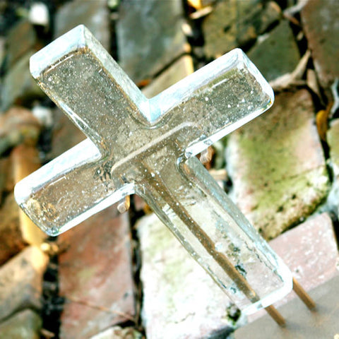 Shimmering Crystal Large Glass Cross